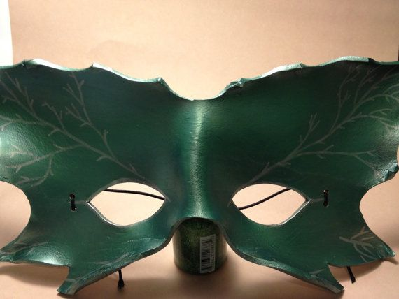 Leaf faerie green leather mask by TheDeviousFox on Etsy, $20.00