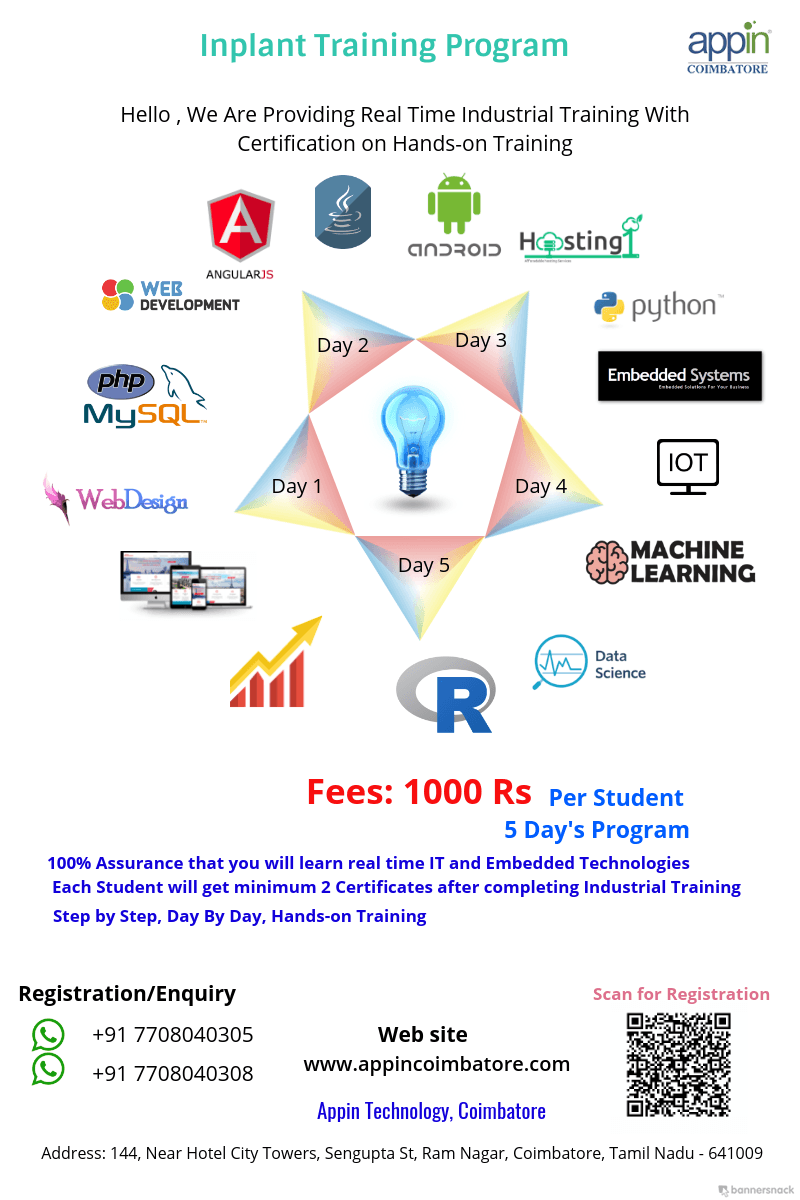 Inplant Training In Coimbatore Internship In Coimbatore Software Training In Coimbatore Company Name Appin Coimbatore Conta Train Data Science Web Design