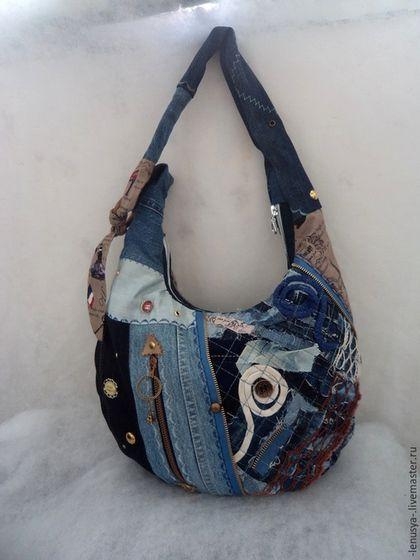 dd0ac65ada2c Женские сумки ручной работы. Ярмарка Мастеров - ручная работа. Купить  Двусторонняя джинсовая сумка