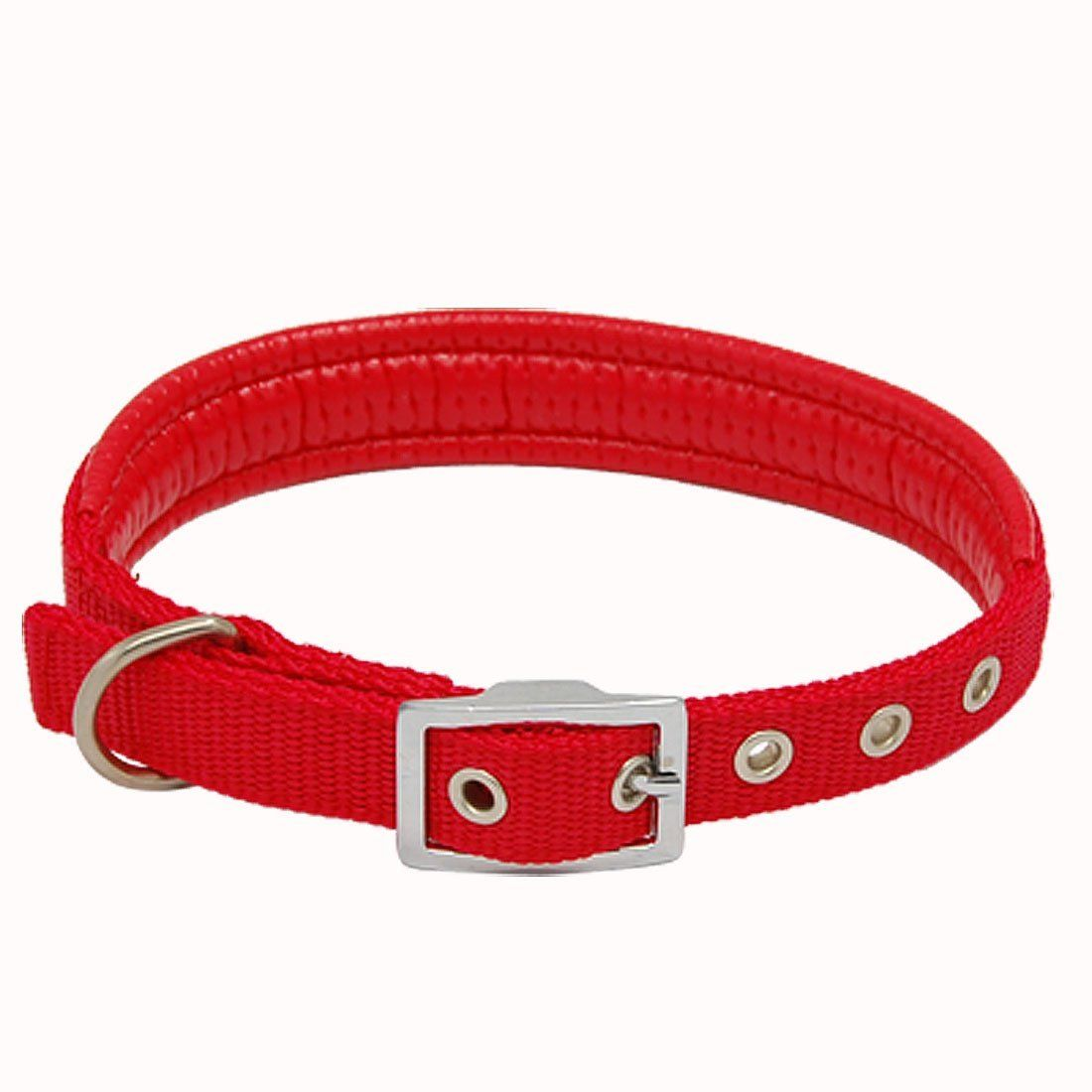 Jardin Dog Pet Neck Collar Faux Leather Band Strap Red With Buckle