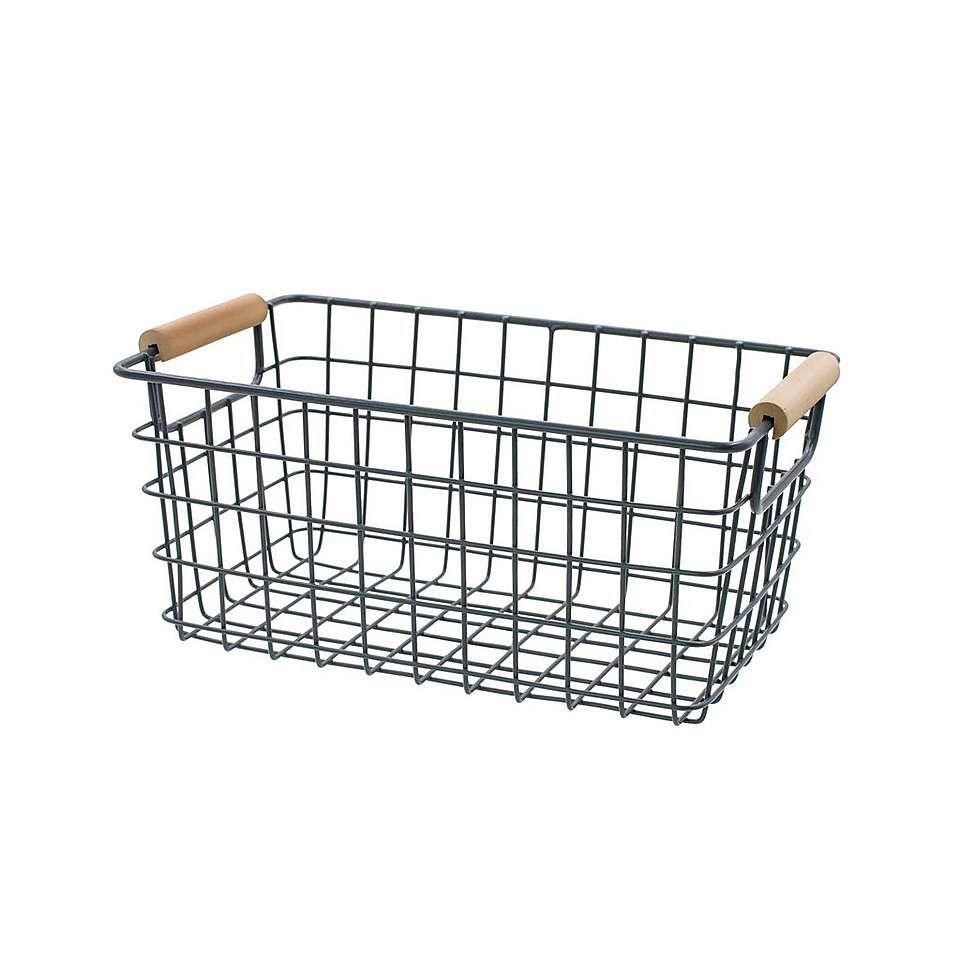 Dunelm Regeneration Large Wired Grey Bathroom Storage Basket | Wire ...