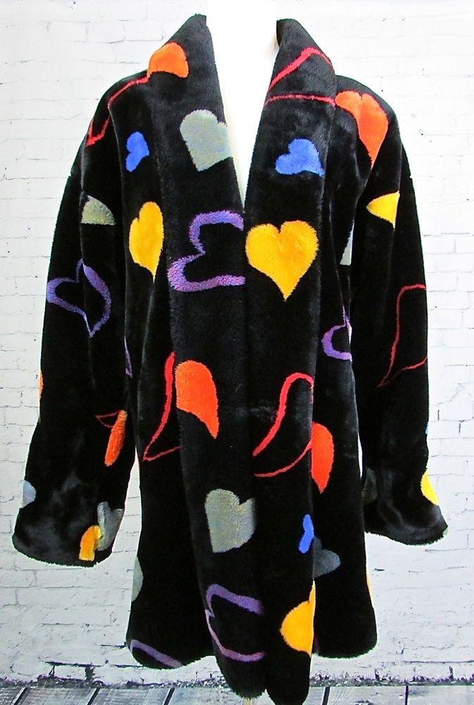 Vintage Donnybrook Colorful Loud Heart Jacket Coat Faux Fur Donnybrook Spor Kaptan