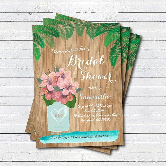Tropical bridal shower invitation summer hawaiian luau hula bridal tropical bridal shower invitation summer hawaiian luau hula bridal shower pool party beach party filmwisefo Choice Image