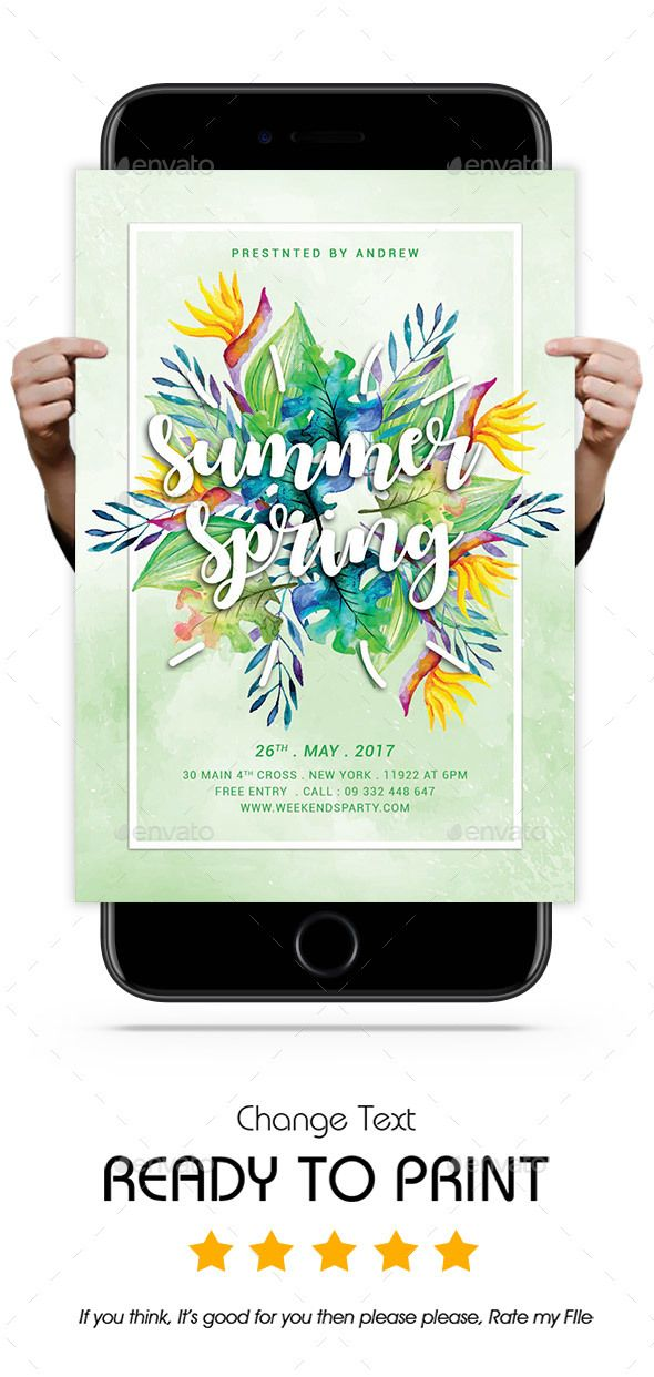 Summer Spring Flyer Template, Flyer template and Party flyer