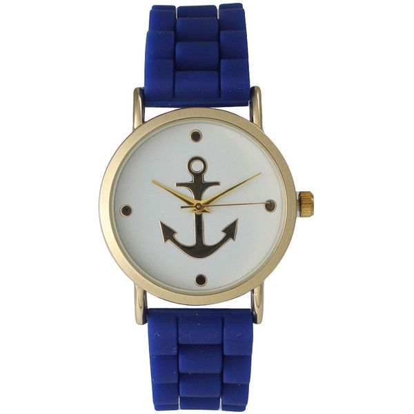 Olivia Pratt Womens Gold Anchor Emblem Dial Royal Silicone Watch (16.670 CLP) ❤ liked on Polyvore featuring jewelry, watches, blue dial watches, wide watches, gold wrist watch, blue jewelry and gold jewelry