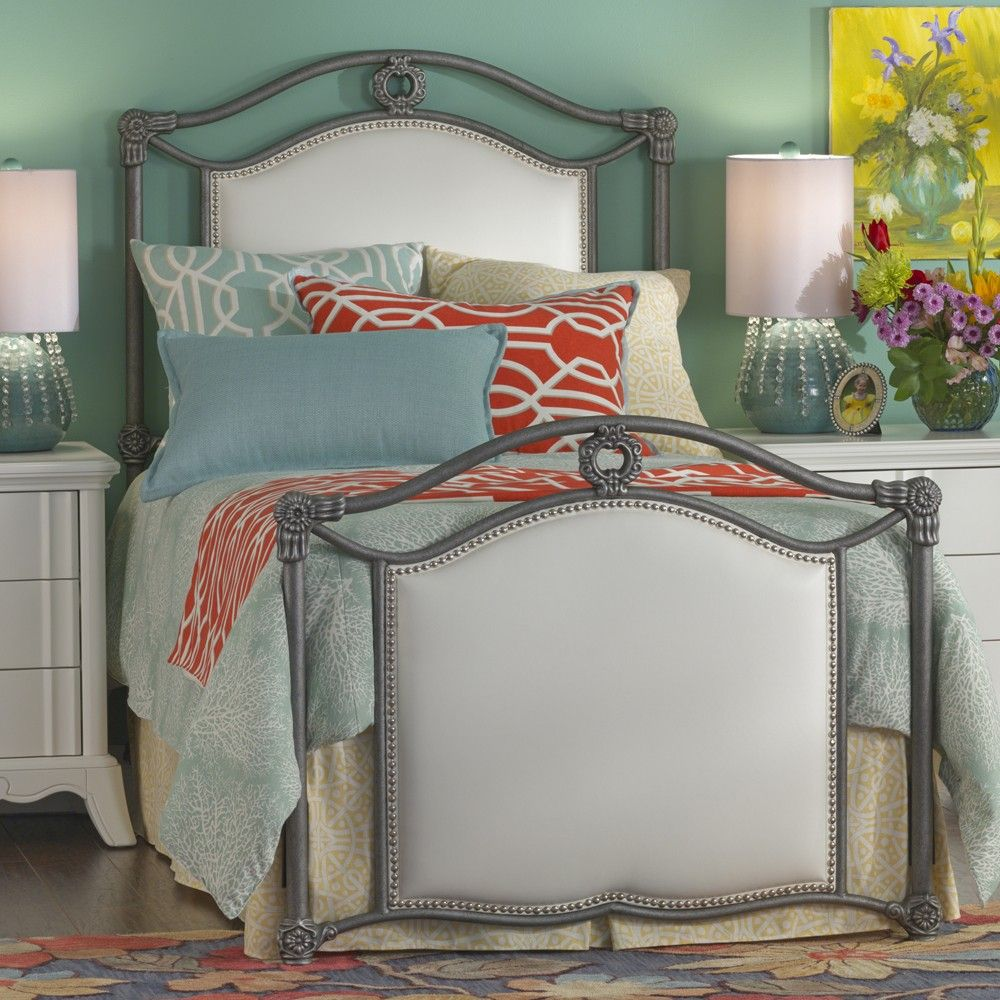 Wesley Allen Wilson Iron & Fabric Upholstered Bed By