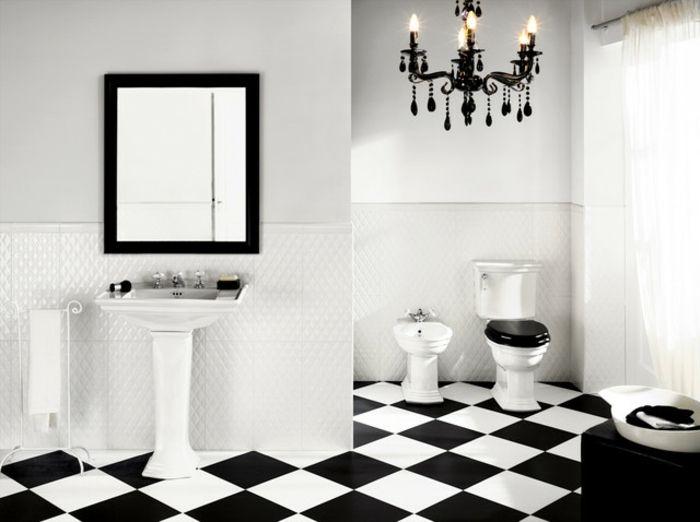 Badezimmermöbel Schwarz ~ Aristokratisches badezimmer einrichten weiß und schwarz