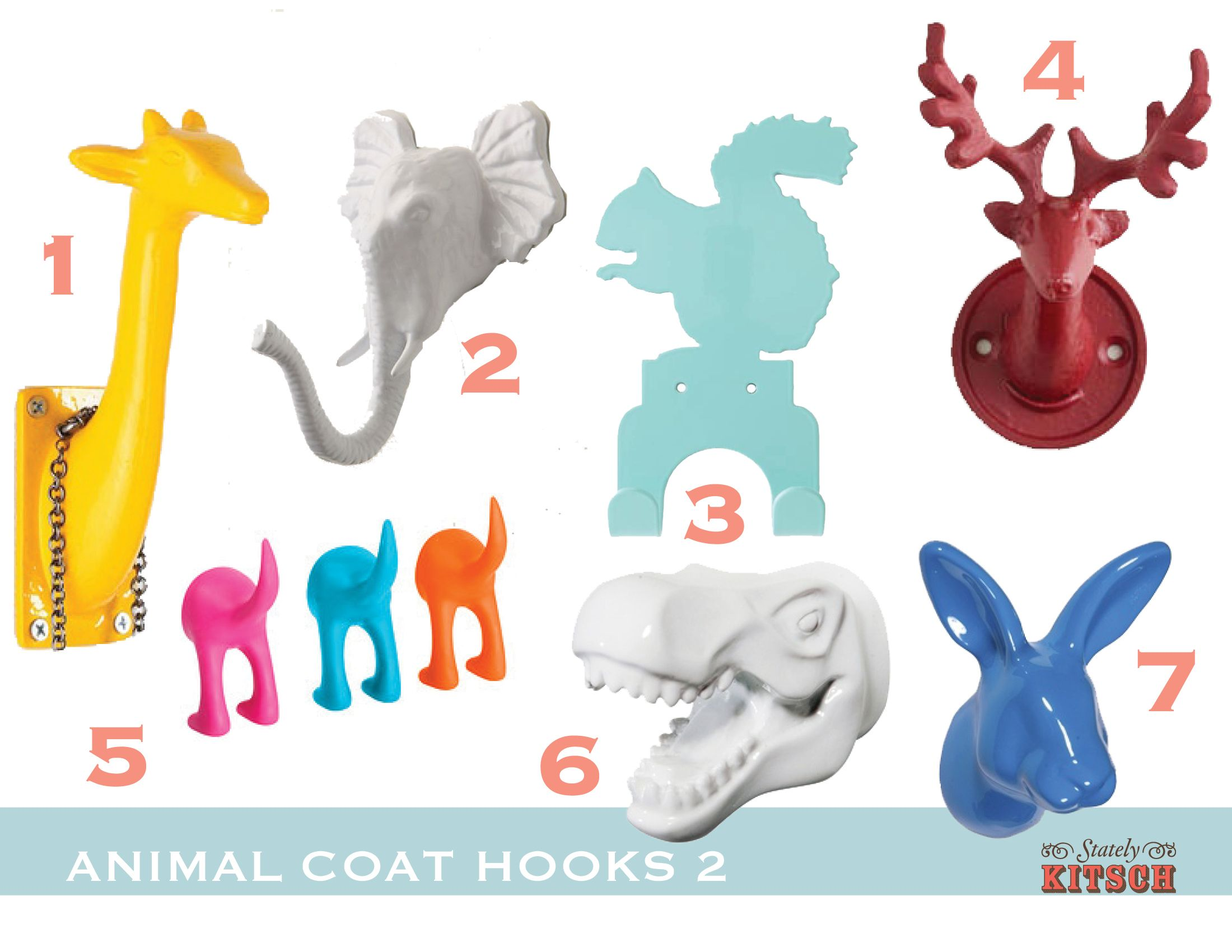 Colorful Animal Hook Round Up via Stately Kitsch