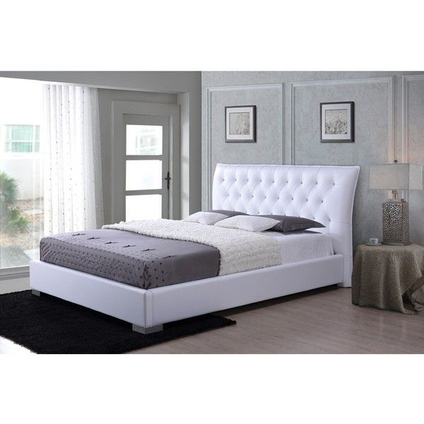 Baxton Studio Marina Contemporary White Faux Leather Platform Bed With 750 Liked On Polyvore Featuring Home Furniture Beds King