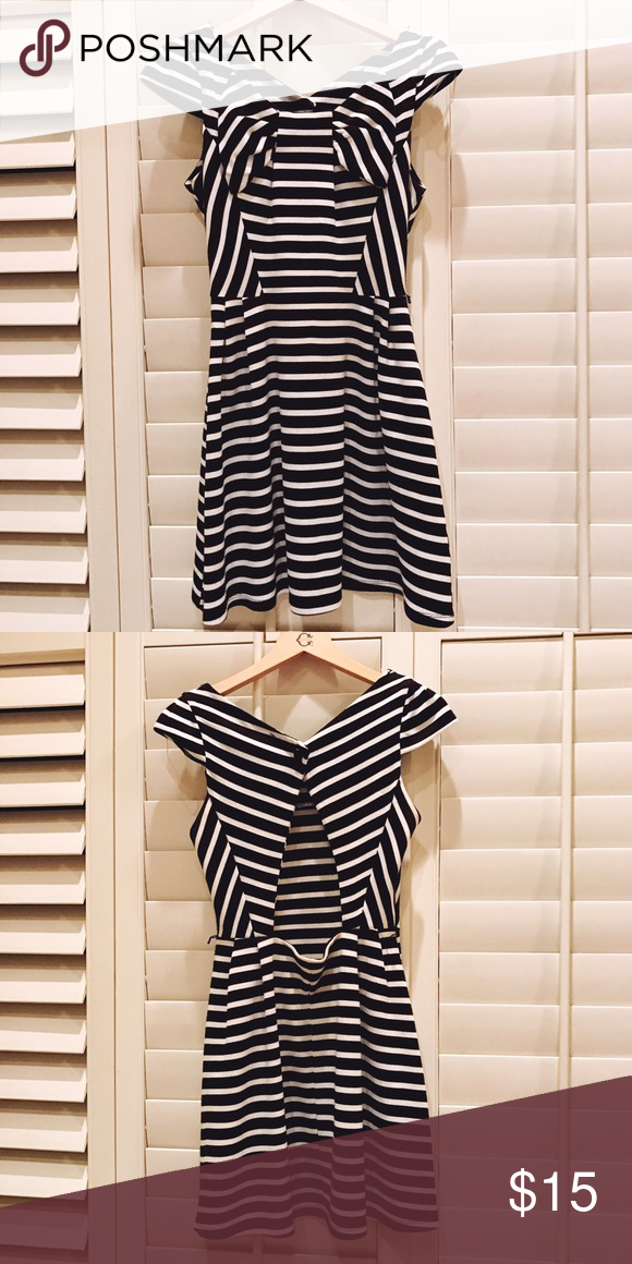 Black and White Striped Dress B/W Striped Dress with Back cutout Dresses