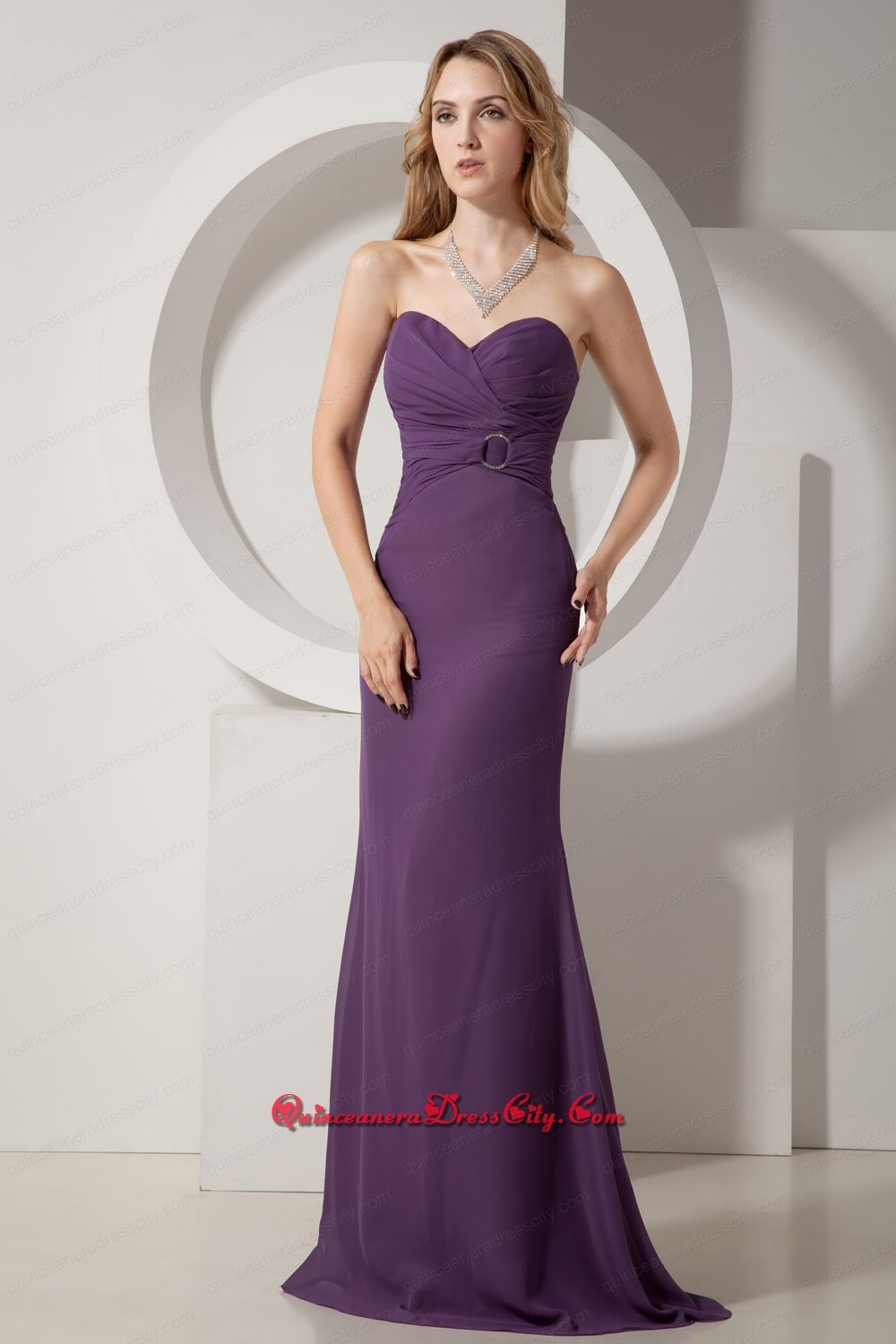 Dark Purple Column Sweetheart Brush Train Chiffon Ruch Mother Dress ...