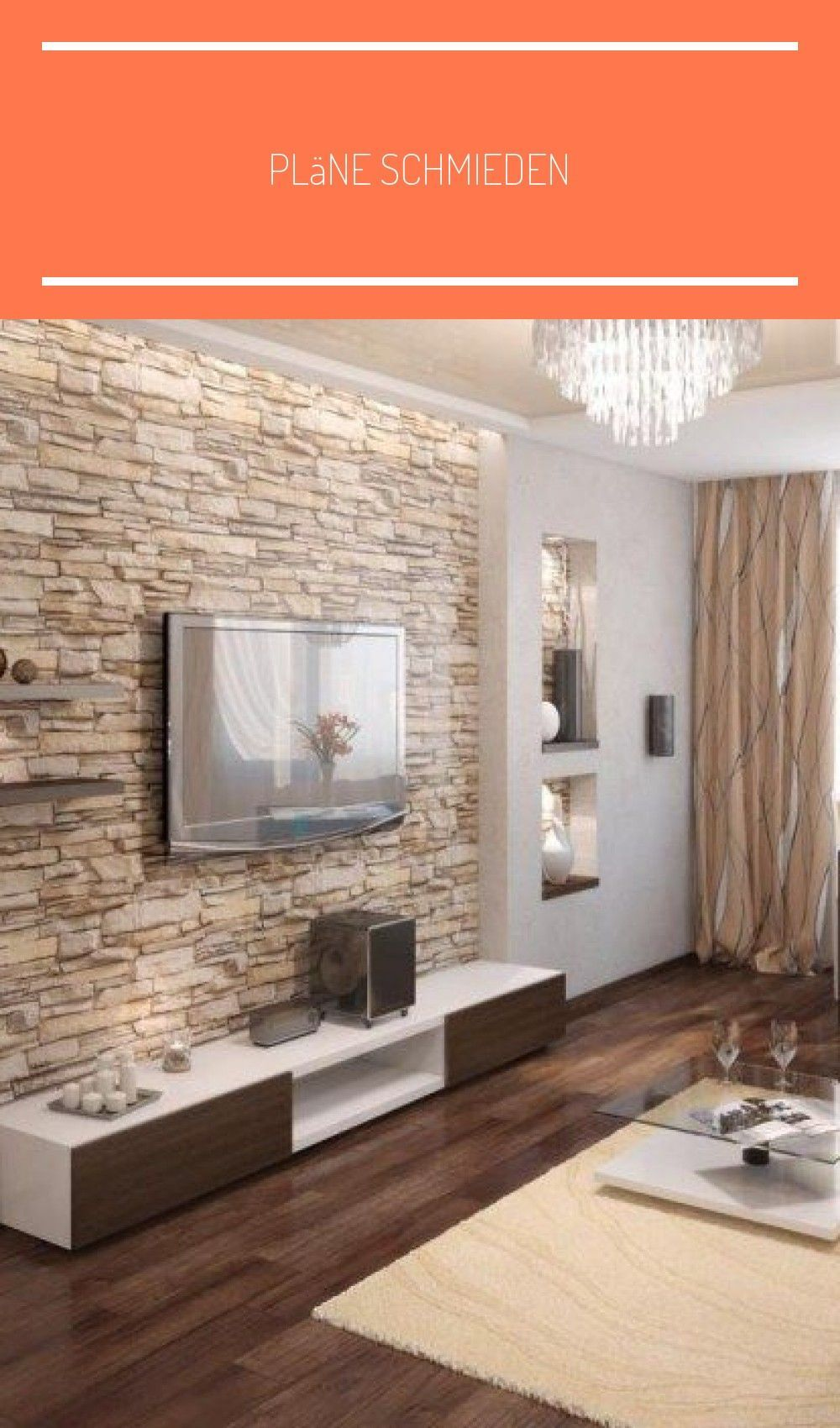 Natural Stone Wall In The Living Room And Warm Beige Nuances Living Dining Room Wallpaper Li Tapeten Wohnzimmer Modern Natursteinwand Wandgestaltung Landhaus