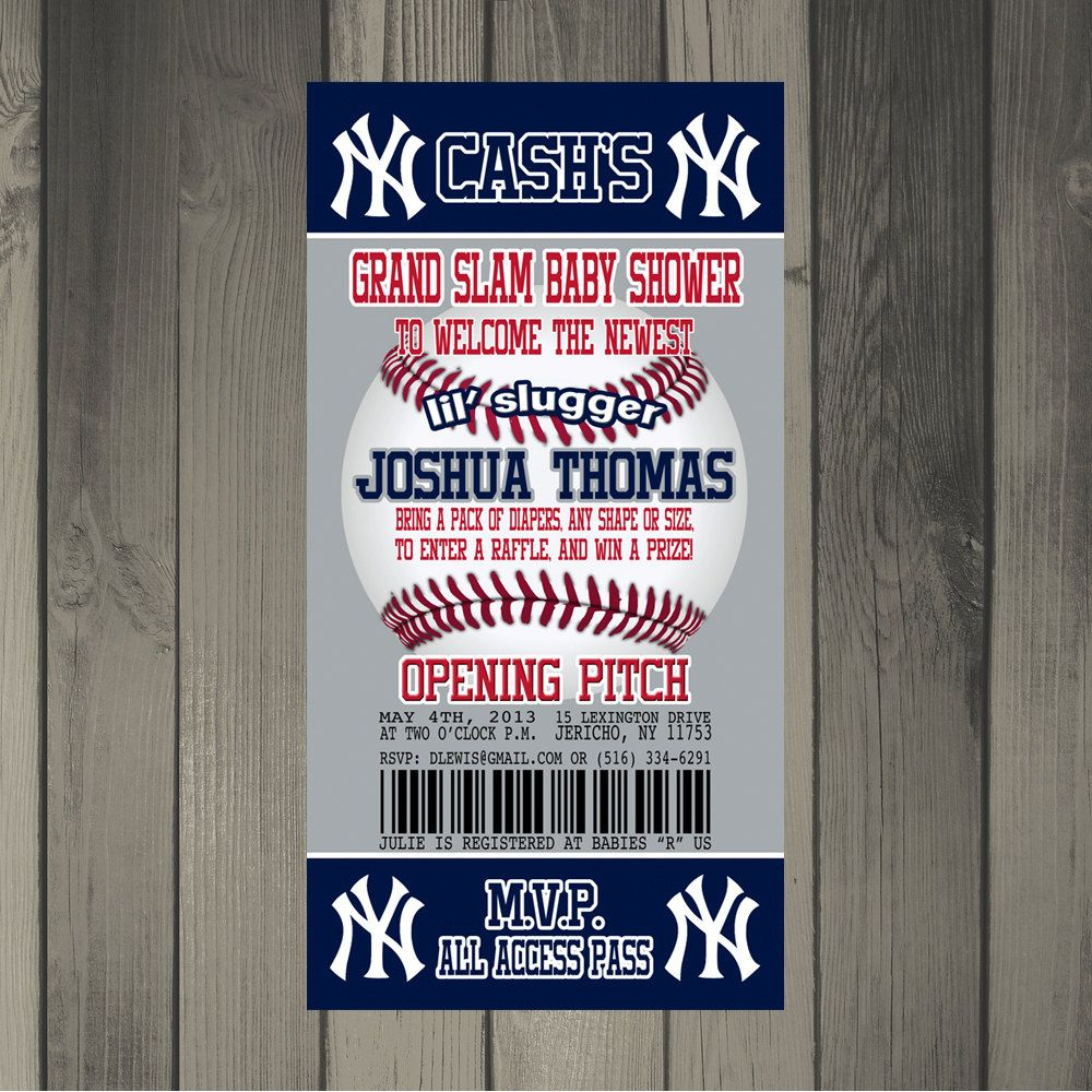 New York Yankees Baseball Themed Baby Shower Invitation. $15.00, via ...