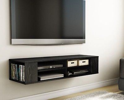 Black Tv Stand Console Modern Furniture Wall Mount Game Center