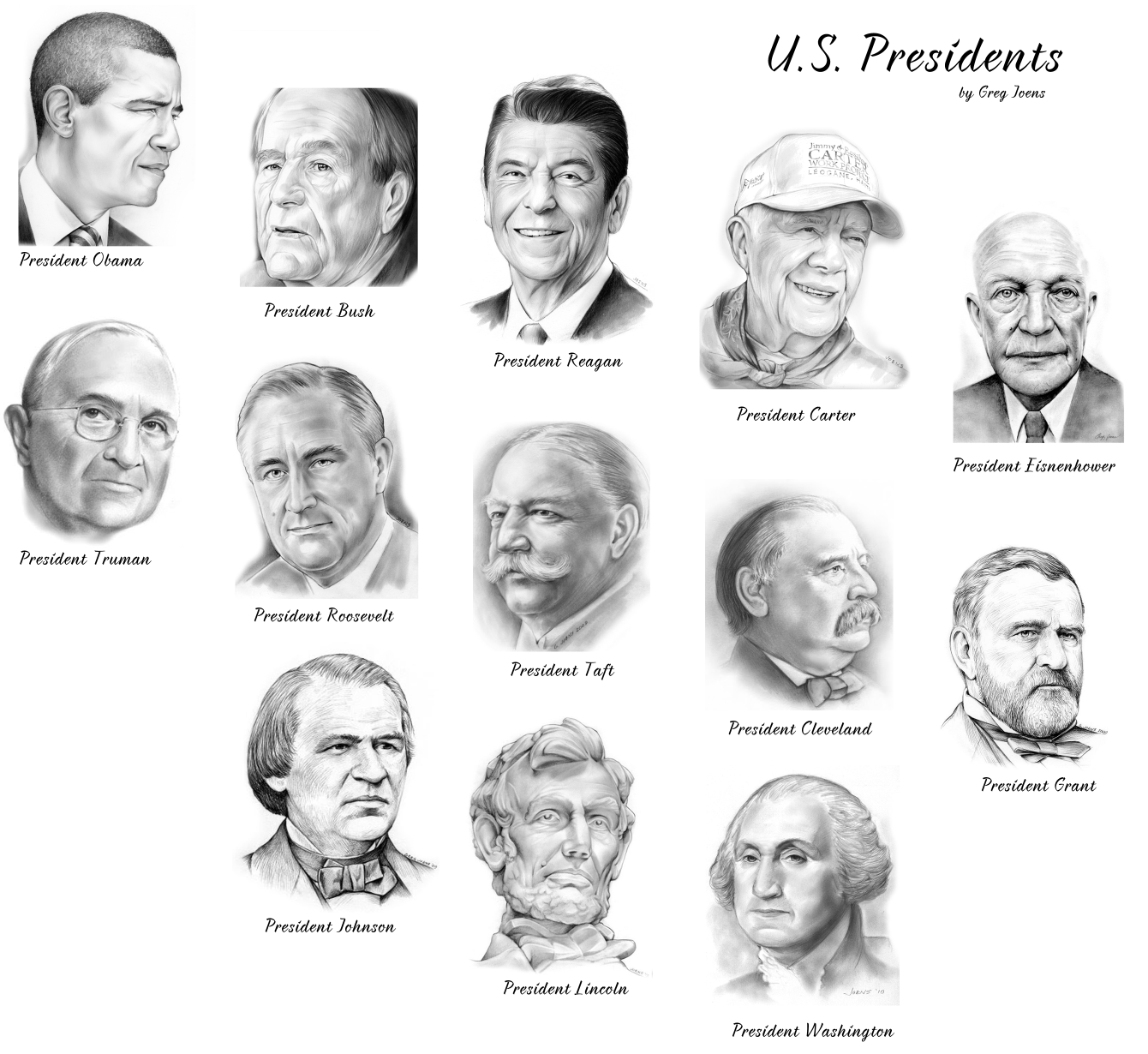 President sketches by Greg Joens. Obama, Bush, Reagan, Carter ...
