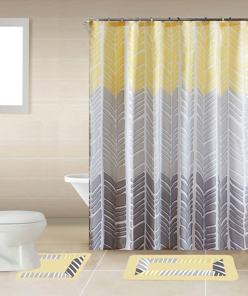 YELLOW SONIA 9PC Complete Bathroom Set Rubber Backing Rug Bath