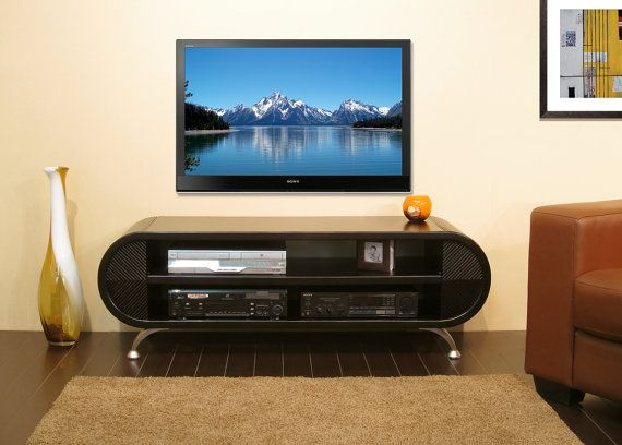 Curved Tv Stand Round Media Console Cascade By Woodwavesinc