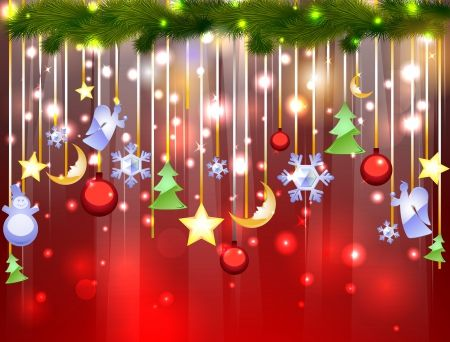 Hanging Christmas Ornaments Background