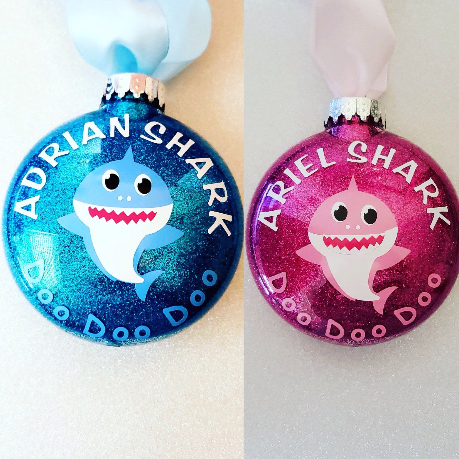 Personalized Baby Shark Ornaments By Iagdesigns On Etsy Https Www Etsy Homemade Christmas Ornaments Diy Gold Christmas Ornaments Christmas Ornaments Homemade