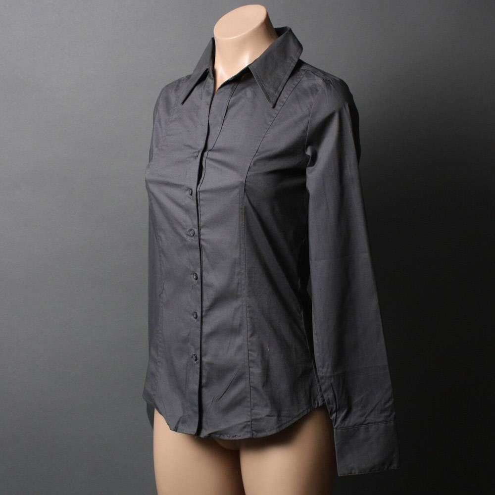 charcoal womens blouse | Charcoal Dark Gray Long Sleeve Fitted ...