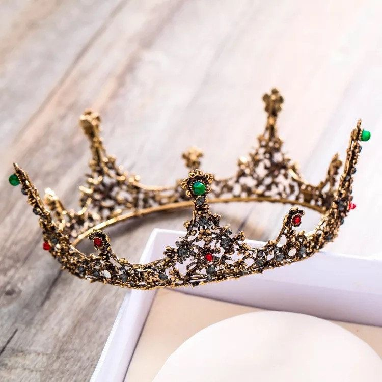 Baroque Vintage Gold Black Crystal Beads Round Bridal Tiaras Crown Royal Queen Rhinestone Pageant Crown Wedding Hair Accessories,bridesmaids