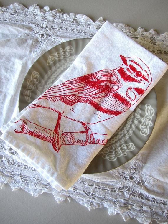 Cloth Napkins - Screen Printed Cotton Cloth Napkins - Eco Friendly Dinner Napkins - Reusable - Handm #clothnapkins