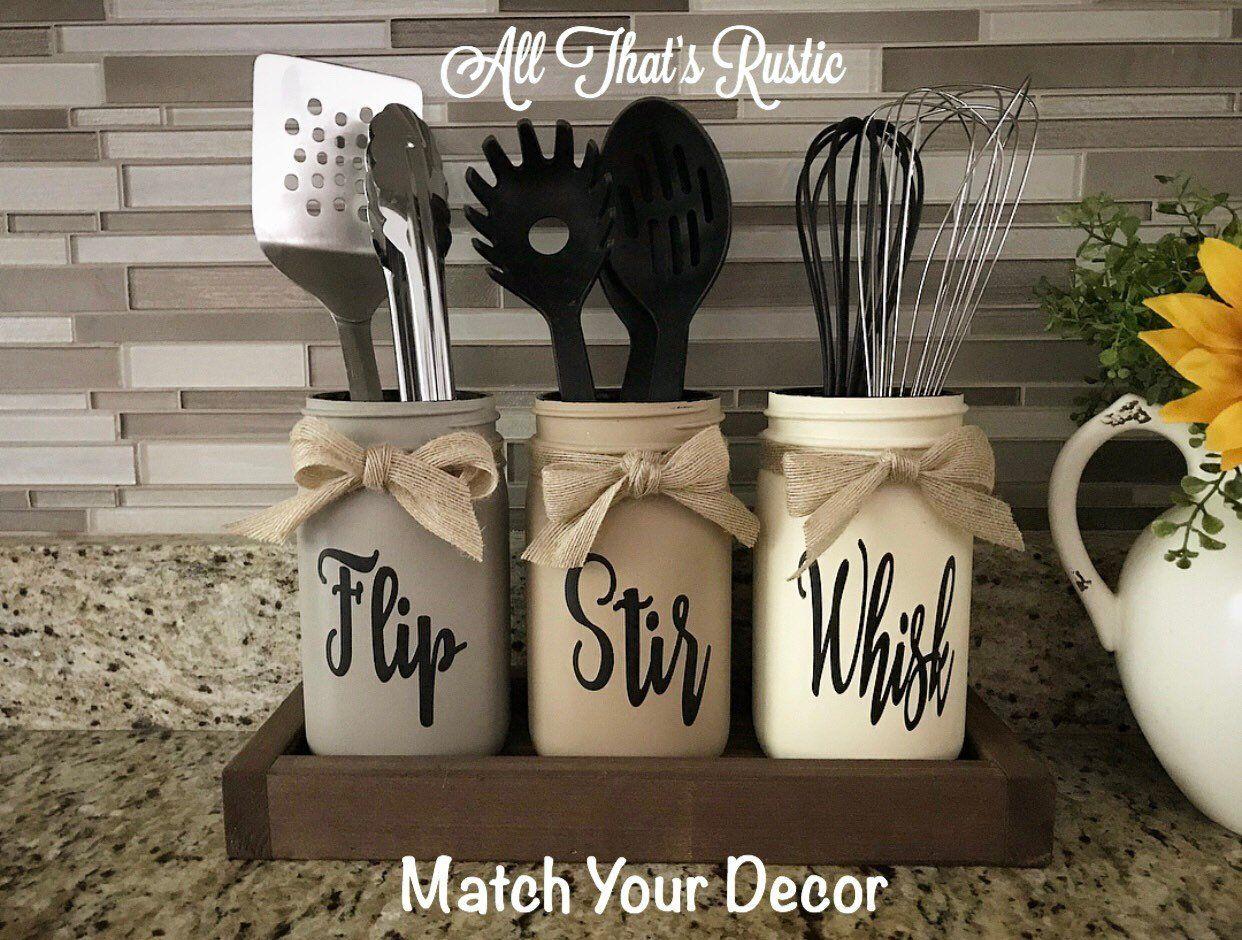 Flip, Stir, Whisk Utensil Holder, Mason Jar Decor, Kitchen Decor, Rustic Utensil Holder,Utensil Hold #masonjardiy