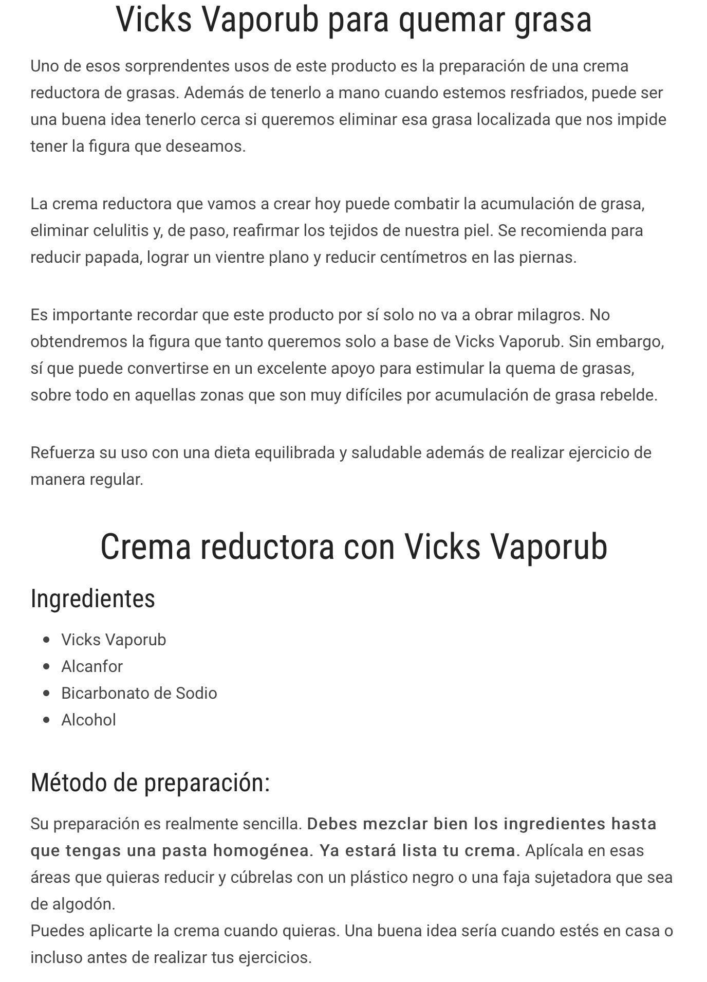 receta del vick vaporub para quemar grasa