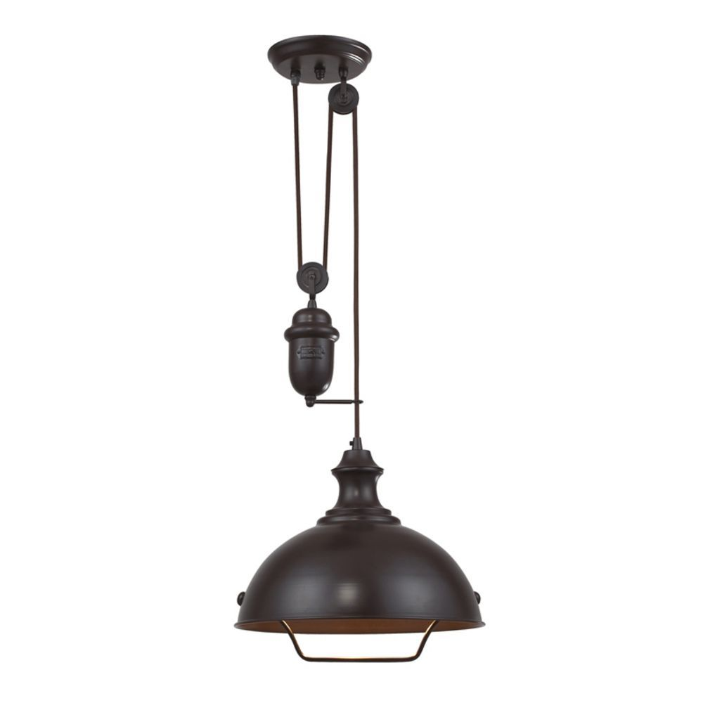 Farmhouse Pulley Pendant Light Bronze Finish
