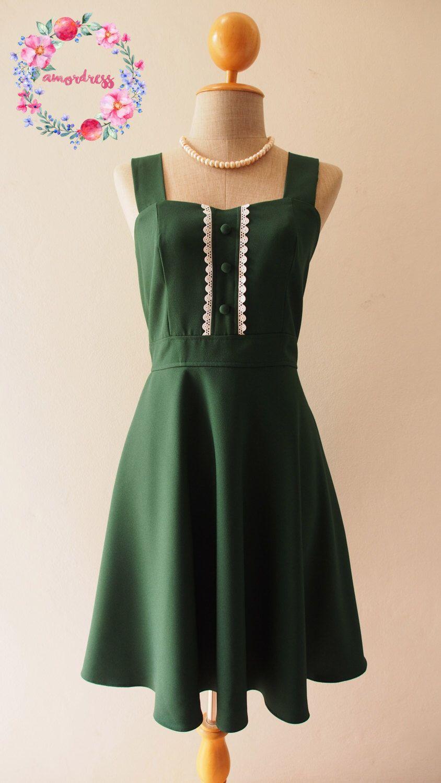 Green bridesmaids dress  VIENNA  Forest Green Bridesmaid Dress Fit and Flare Dress Green