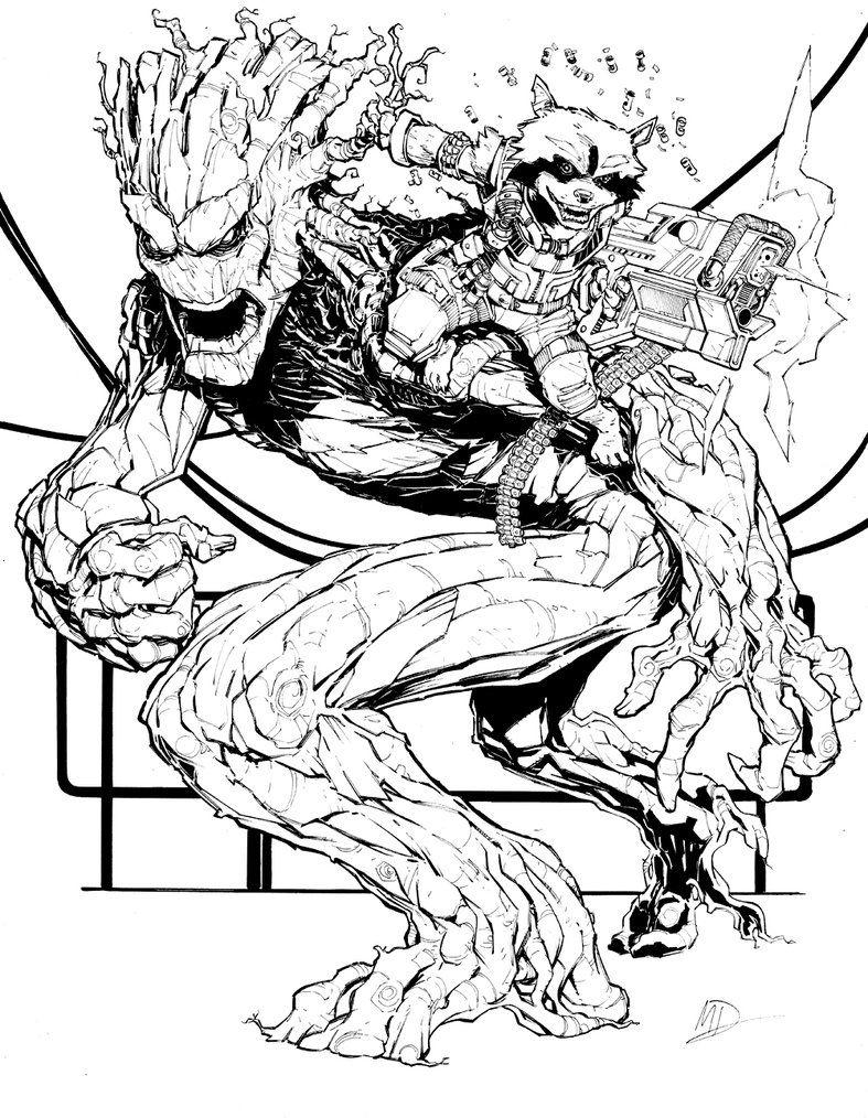 Groot & Rocket Raccoon Max Dunbar Rocket art, Comics