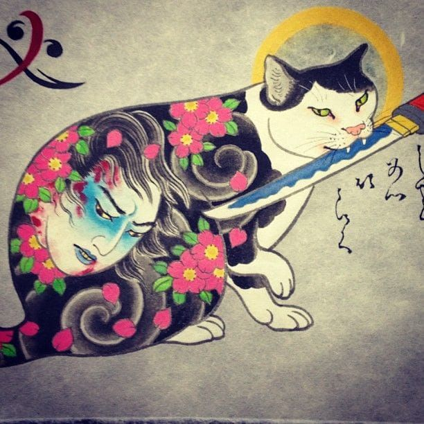Adorable Tattooed Monmon Cats By Horitomo Cat Tattoo Cat Art Cat Painting