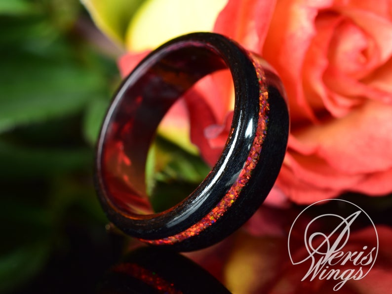 Black Poplar Wood Ring Crushed Red Opal Red Epoxy Core