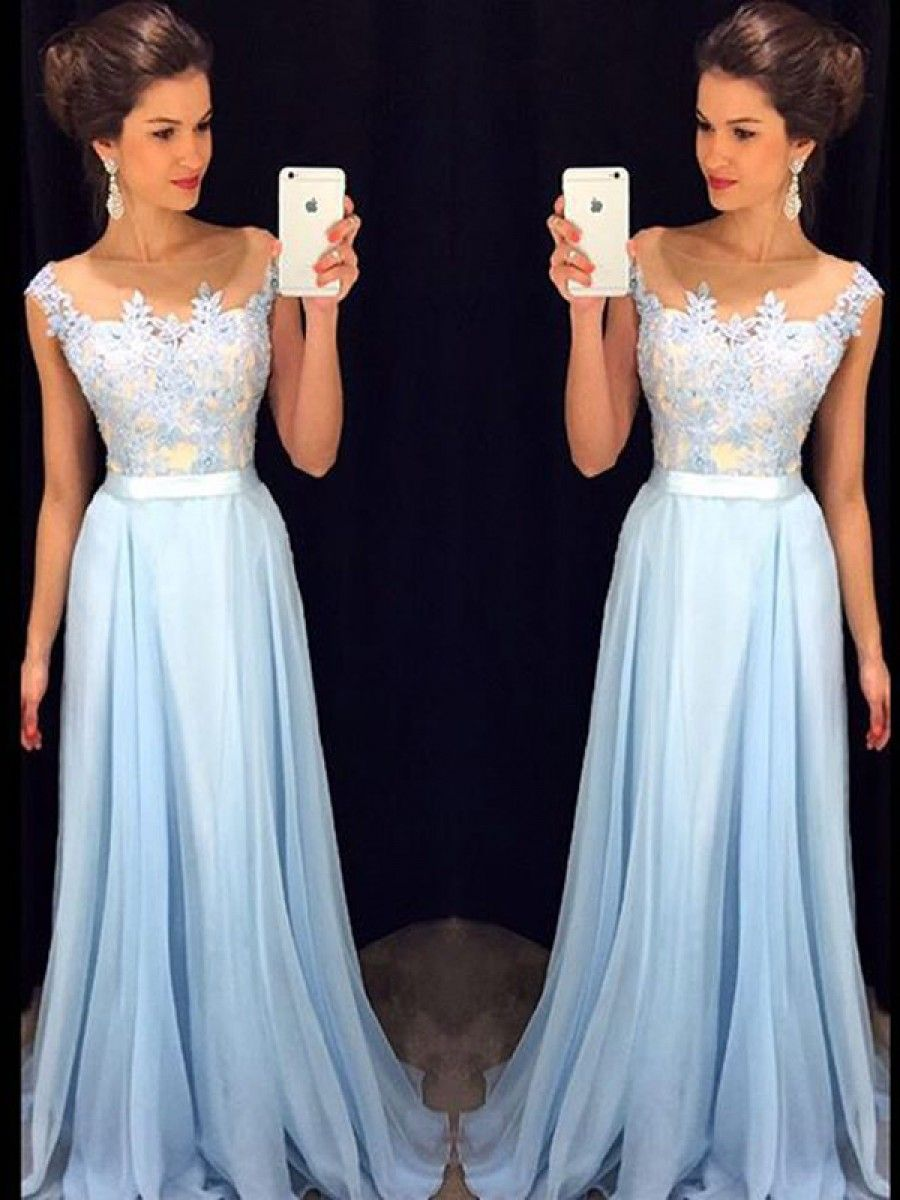 Long blue lace chiffon see through prom evening formal dresses