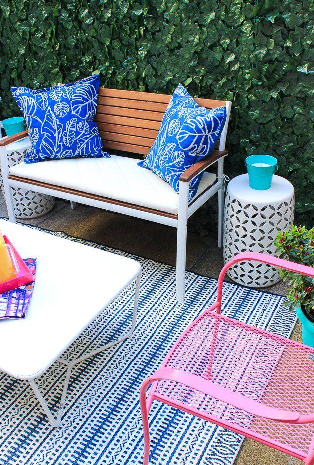 Renter Friendly Patio Makeover | White outdoor bench ...