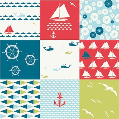 Sophisticated Modern Nautical Nursery: Organic Nautical Cotton Fabric By Birch Set Sail Cheater