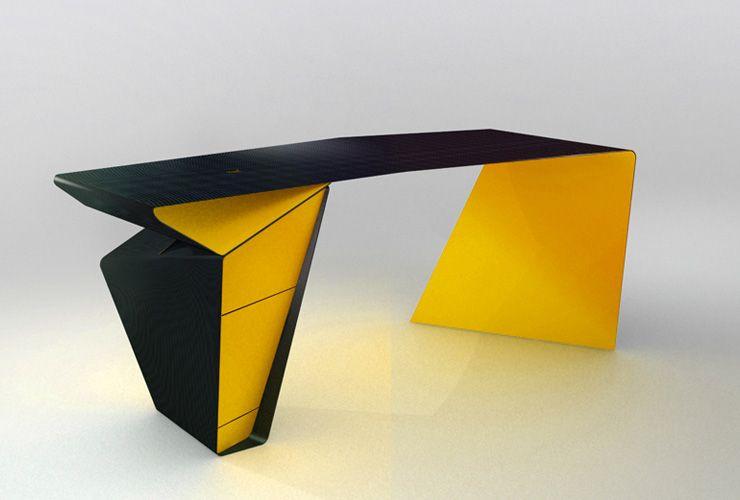 Philip michael wolfson dynamic line desk furniture for Futuristic office desk