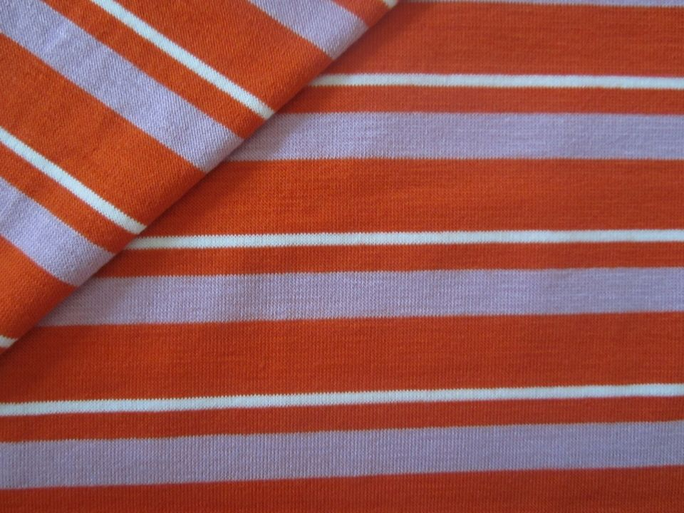 Banberry Place: Orange and Lavender Striped Knit Fabric