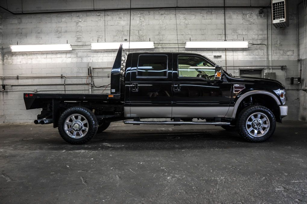 Flatbed Crew Cab 2008 Ford F 350 King Ranch 4x4 1 Ton Powerstroke