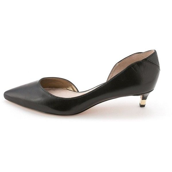 Sam Edelman Womens Linda Leather Pointed Toe D-Orsay Pumps (€29) ❤ liked on  Polyvore featuring shoes, pumps, black, lace up flats, black lace up flats,  ...
