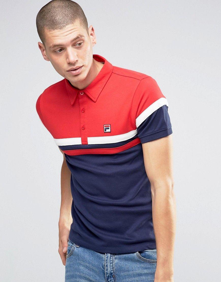 Fila Vintage Polo Shirt With Chest Stripe at asos.com