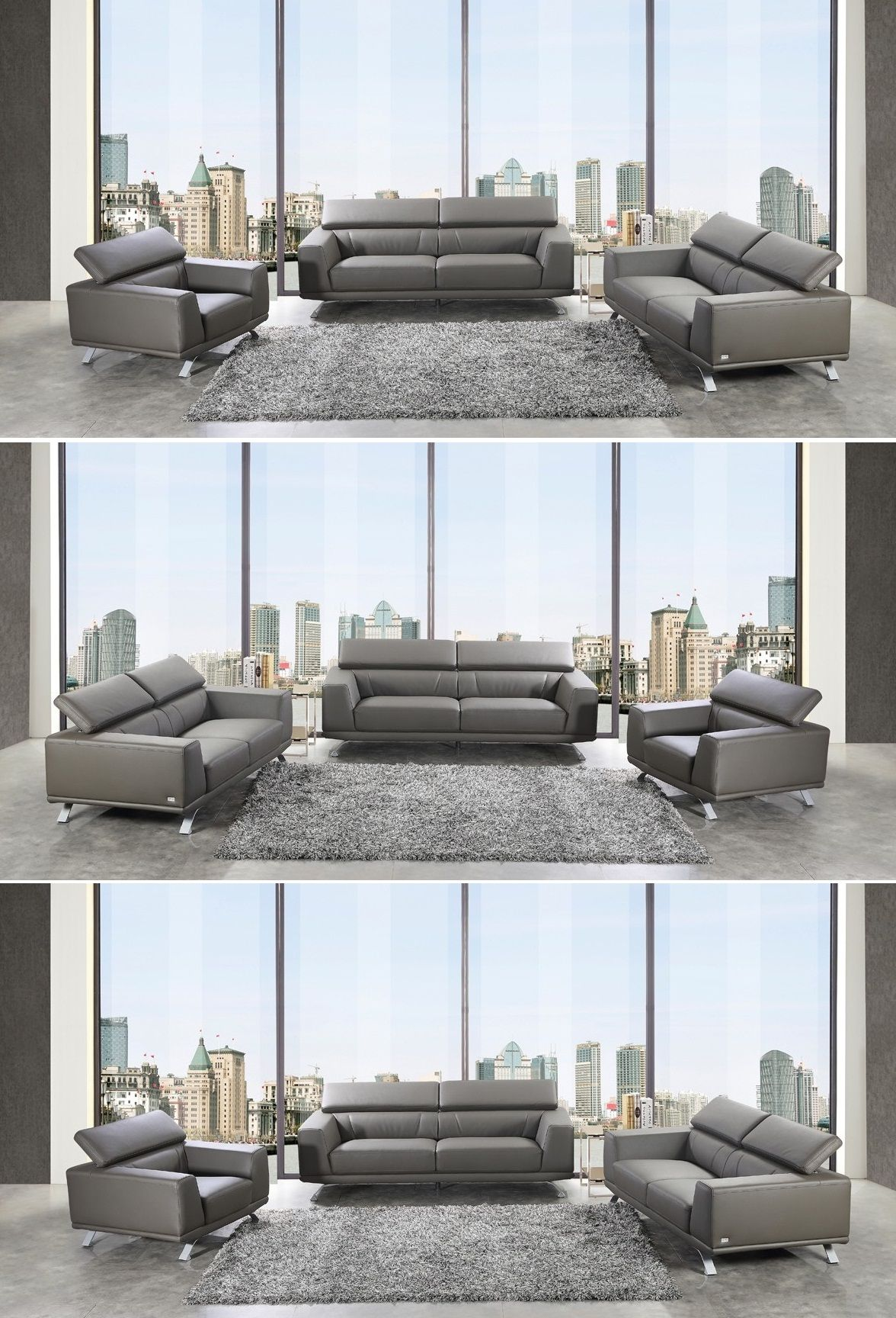 Coaster Joaquin Grey Leather Sectional Home Furniture Living Room Furniture Sofas Loveseats Grey Sectional Sofa Grey Leather Sectional Furniture