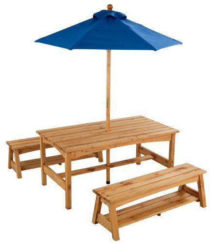 Amazing Kidsu0027 Picnic Tables   Table Benches With Blue Umbrella *** Details Can Be