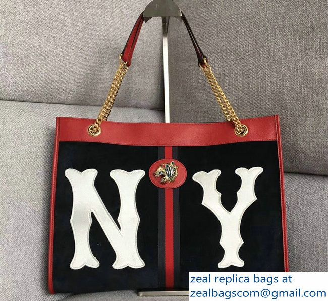 7972e8206be Gucci Web Rajah Large Tote Bag 537219 with NY Yankees-Patch Suede Dark Blue  2018