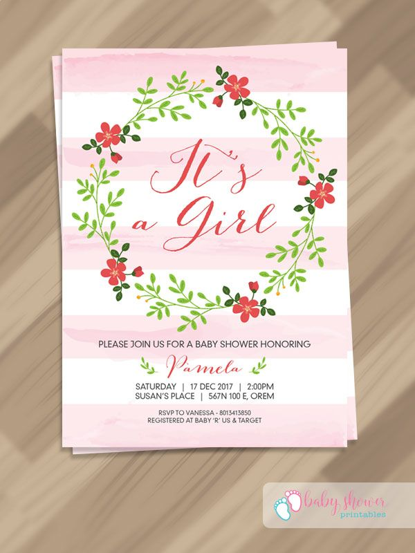 Free Pdf Template Baby Girl Invitation Template Baby Shower