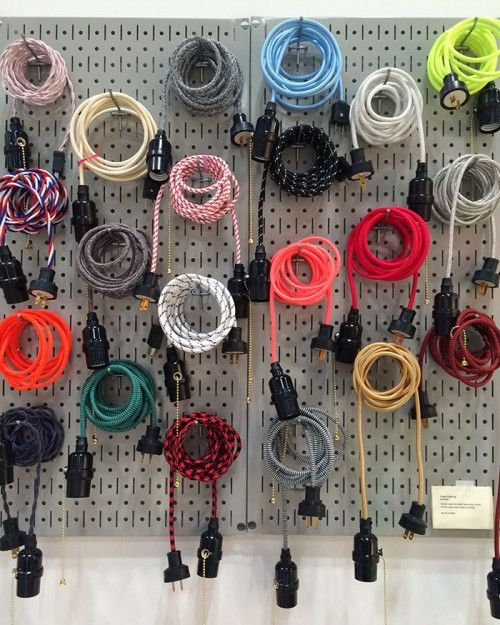 colorful fabric wrapped cords for hanging pendant lights at sweet bella