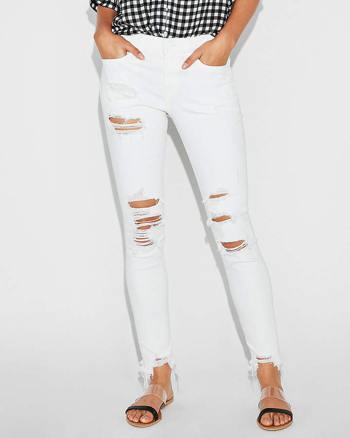 561fd189cacf5 Express Mid Rise White Ripped Stretch Jean Ankle Leggings | Products ...
