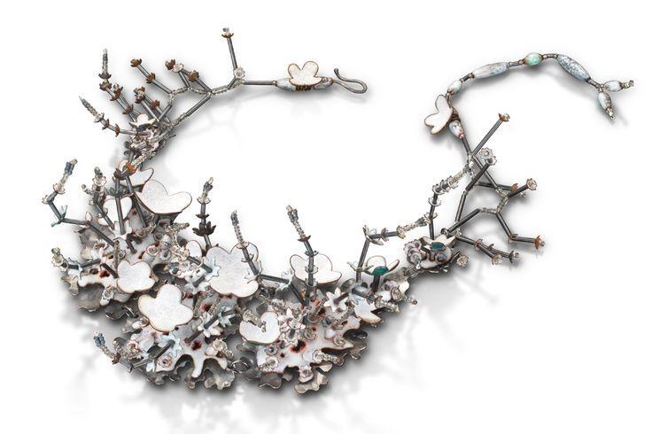 Wendy McAllister Necklace: Arctic Summer, 2014 Vitreous enamel, copper, oxidized sterling silver 21.95 x 21.95 x 6.35 cm