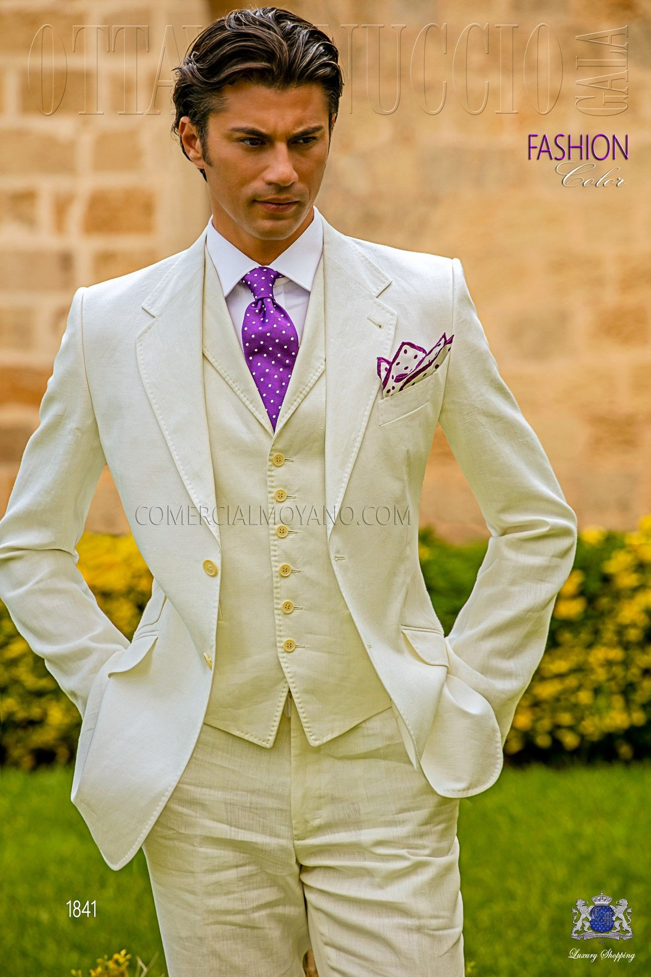 italienisch herren anzug elfenbein aus reiner leinen mit abfallendes revers 2 corozo kn pfe. Black Bedroom Furniture Sets. Home Design Ideas