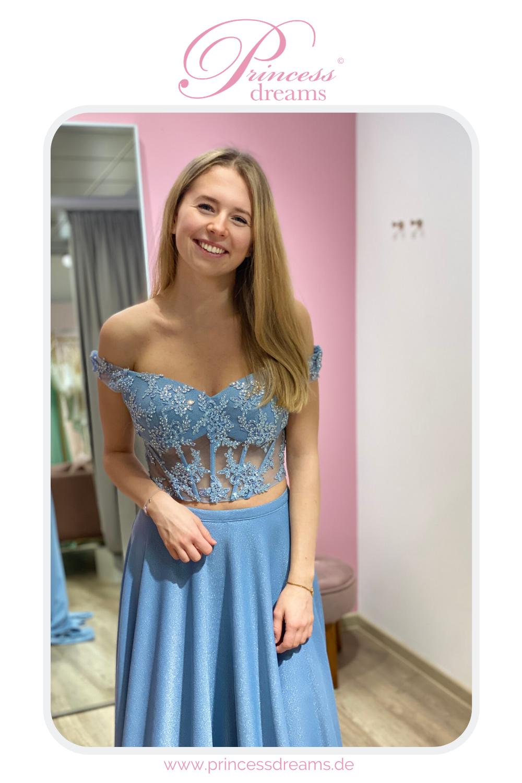 Abiballkleid Zweiteiler blau in 20  Kleider, Brautkleid